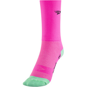 "DeFeet Aireator 5"" Double Cuff Socks d-logo/neon pink"